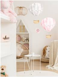 2 Hot Air Balloon Watercolor Wall Decal Sticker Baby Girl Nursery Art Pink Forest Cafe