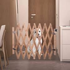 Height 48cm Telescopic Length 60 110cm Retractable Pet Gate Wood Dog Sliding Door Indoor Dog Gate