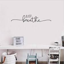 Amazon Com Miusy Vinyl Wall Decal Stickers Motivation Quote Yoga Relaxing Words Inspiring Just Breathe Home Kitchen