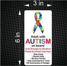 Adult With Autism On Board Emergency Awareness Car Vinyl Bumper Sticker Decal Ebay