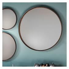round bronze wall mirror 61cm