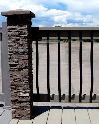 Builddirect Stoneworks Faux Stone Railing Post Covers Stone Railings Stone Deck Brick Fence