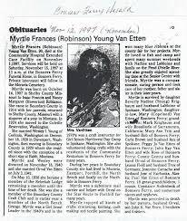 Van Etten, Myrtle Frances (Robinson) Young 1907-1997 - New Obituaries