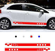 Amazon Com 2pcs For Kia Rio Car Color Vinyl Sports Racing Decal Diy Body Sticker Side Decal Stripe Decals Suv Vinyl Graphic Red Automotive