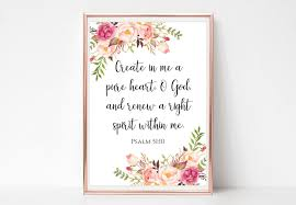 Psalm 51 10 Print Create In Me A Pure Heart Sign Printable Etsy