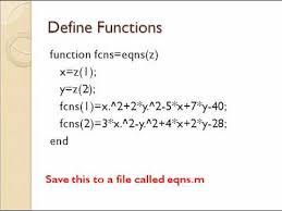 nar algebraic equations in matlab