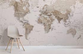 Sepia World Map Wallpaper Mural Muralswallpaper