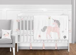 9 pc pink grey and gold unicorn baby