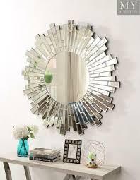 sunburst round contemporary wall mirror