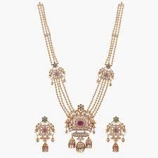 Myra Antique Long Necklace Set | Indian Long Necklace Sets Online - Tarinika