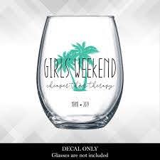 Girls Weekend Cheaper Than Therapy Palm Tree Decals For Wine Glass Yeti Or Plastic Tumbler Diy Vinyl Stickers Girls Trip Getaway