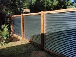 Perfect Metal Fence Ideas 10 Galvanized Sheet Metal Corrugated Metal Fence Capped In Cedar With 4x4 Corrugated Metal Fence Privacy Fence Designs Fence Design