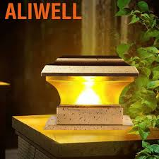 Aliwell Solar Power Fence Post Lights Waterproof Outdoor Garden Landscape Yard Lvjw Shopee Philippines