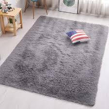 Amazon Com Pagisofe Grey Fluffy Shag Area Rugs For Bedroom 5x7 Soft Fuzzy Shaggy Rugs For Living Room Carpet Nursery Floor Girls Dorm Room Rug Furniture Decor