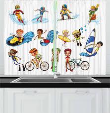 Kids Sports Kitchen Curtains 2 Panel Set Window Drapes 55 X 39 Ambesonne Ebay