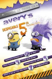 Despicable Me 2 Purple Evil Minion Invitations Minions