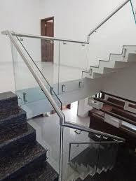 steel railing with glass for stair at