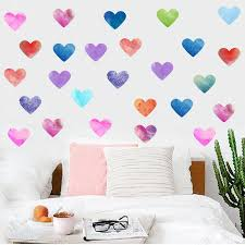 Colorful Heart Diy Wall Sticker Watercolor Nordic Style Ins Bedroom Kids Room Mural Decals Wardrobe Fridge Decor Vinyl Wall Decals Kids Vinyl Wall Decor From Sunshine World 2 17 Dhgate Com