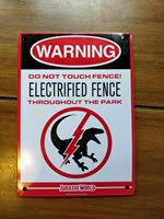 Jurassic World Metal Electric Fence Warning Sign