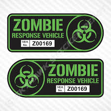 Zombie Response Vehicle Sticker Set Vinyl Decal Lime Green Car Truck Truck Stickers Sticker Set Unique Decals