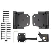 Self Closing Gate Kit Fence Hardware Black Steel Spring Hinges Latch Screws Set 744759757616 Ebay