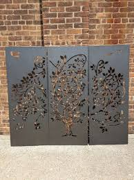 3 Panel Tree Metal Privacy Screen Decorative Panel Outdoor Garden Fence Art In 2020 Decorative Panels Garden Fence Art Fence Art