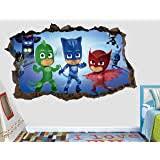 Amazon Com Pj Masks Gekko Catboy Owlette Battle 3d Sticker Wall Decal Smashed Vinyl Decor Mural Kids Broken Wall 3d Designs Jh58 Large Wide 62 X 34 Height Home Kitchen