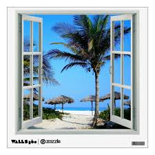 View Of Beach And Palm Trees Faux Window Wall Decal Zazzle Com