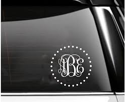 Amazon Com Dotted Circle Monogram Car Decal Script Font Tumbler Decal Handmade