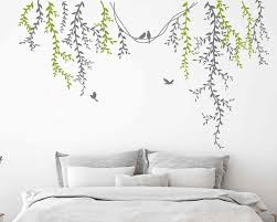 Hanging Dark Green Vines Wall Decal Sticker Decal Nursery Decal Birds Decal Baby Children Beautiful Flowers With Flying Birds Wall Stickers Aliexpress