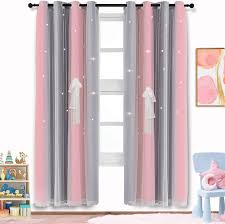 Amazon Com Artbeck Star Curtains Kids Curtains For Girls Bedroom Living Room Rainbow Ombre Stripe Blackout Curtain Double Layer Tulle Star Cut Out Gradient Grommet Window Curtains 1 Pc 42w X 63l