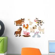 Cartoon Farm Animals Wall Decal Sticker Set Wallmonkeys Com