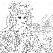Coloring Page Of Geisha Japanese Dancing Actress Holding Paper