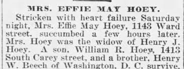 Obituary for EFFIE MAY HOEY - Newspapers.com