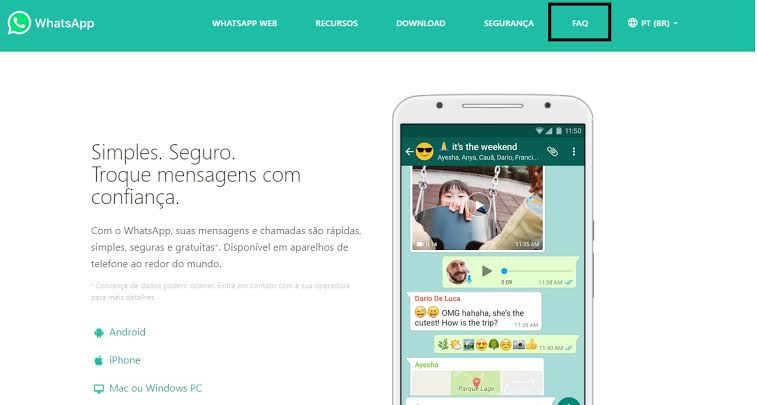 Exemplos de FAQ do WhatsApp