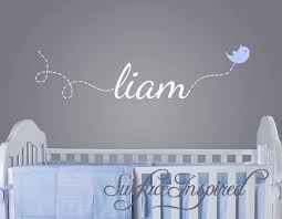 Nursery Wall Decals Liam Name Decal With A Flying Bird Decal Custom Made Name Wall Decals For Boys Nursery Wall Decals Nursery Wall Decor Boy Baby Boys Wall