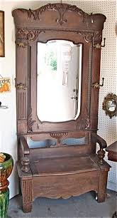 antique hall tree with mirror