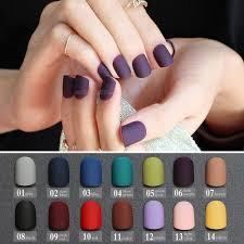 Frosted Finished Gray Matte False Nails Brown Short Paragraph