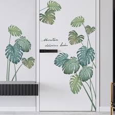 Monstera Green Leaf Living Room Home Decor Botanical Sticker Greenery Plants Wall Decals Reading Room Murals Wall Decal Living Room G552 Mikiyoshop On Artfire