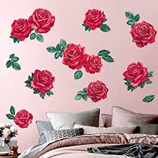 Amazon Com Decalmile Romantic Red Rose Flower Wall Stickers Floral Wall Decals Girls Bedroom Living Room Tv Wall Art Decor Wedding Party Decoration Furniture Decor