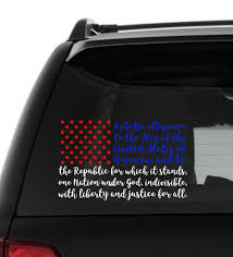 Pledge Of Allegiance Decal Pledge Of Allegiance Flag Vinyl Decal Flag Decal Decals For Cars Yeti Decal Laptop Flag Decal Pledge Of Allegiance Car Decals