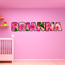 Vwaq Personalized Flower Name Wall Decals For Girls Floral Custom Nu