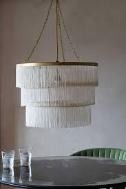 three tier fringe chandelier ivory