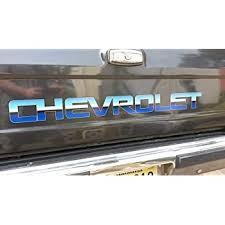 Amazon Com East Coast Vinyl Werkz Chevy Blue Polished Windshield Tailgate Window Decal Silverado Duramax Z71 C10 Blazer Colorado S10 Automotive