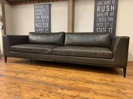 italia taper arm leather sofa for