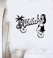 Vinyl Wall Decal Aloha Logo Hawaiian Girl Dancer Beach Style Stickers Wallstickers4you