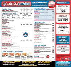 printable dominos pizza menu