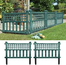 Parkland Green Plastic Fence Panels Garden Lawn Edging Plant Border Landscape Pack Of 4 Garden Border Edging