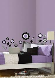 Flowers Wall Decals Purple Black Room Decor Stickers Decorations Polka Dot 99789 For Sale Online Ebay