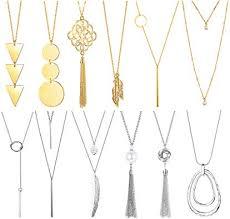 loyallook 12pcs long pendant necklace